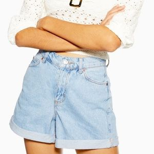 Topshop Roll Mom Denim Jean Shorts